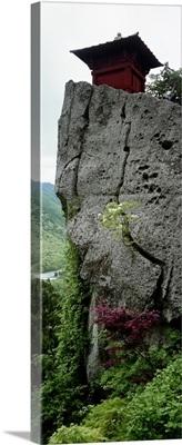 Low angle view of a rock, Yamadera, Yamagata Prefecture, Honshu, Japan