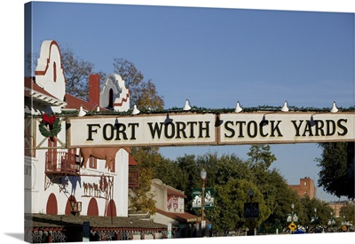 Low angle view of a signboard over a street, Fort Worth Stockyards, Fort Worth, Texas