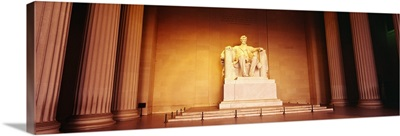 Low angle view of a statue of Abraham Lincoln, Lincoln Memorial, Washington DC