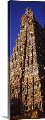 Low angle view of a temple, Sri Meenakshi Hindu Temple, Madurai, Tamil Nadu, India