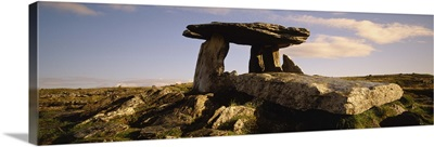 Low angle view of a tomb, Neolithic Tomb, Poulnabrone Dolmen, The Burren, County Clare, Republic Of Ireland