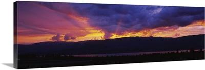 Low angle view of clouds at dusk, Kelowna, British Columbia, Canada