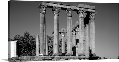 Low angle view of columns in the temple, Temple Of Diana, Evora, Portugal