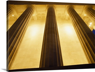Low angle view of columns of a monument, Lincoln Memorial, Washington DC