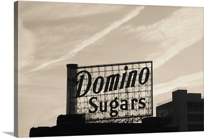 Low angle view of domino sugar sign, Inner Harbor, Baltimore, Maryland