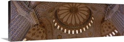 Low angle view of interiors of a mosque, Blue Mosque, Istanbul, Turkey