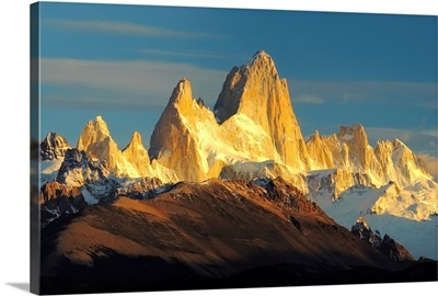 Low angle view of mountains, Mt Fitzroy, Argentine Glaciers National Park, Argentina