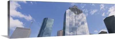 Low angle view of office buildings, Houston, Texas