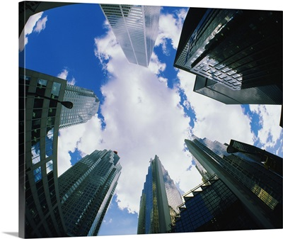 Low angle view of office buildings, Toronto, Ontario, Canada
