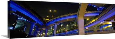 Low angle view of overpasses, Shanghai, China