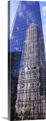 Low angle view of reflection of a building on an another building, Charlotte, North Carolina