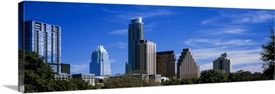Low angle view of skyscrapers in a city, South Congress Avenue, Austin, Texas
