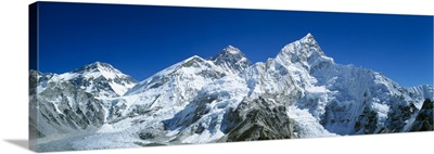 Low angle view of snowcapped mountains, Himalayas, Khumba Region, Nepal