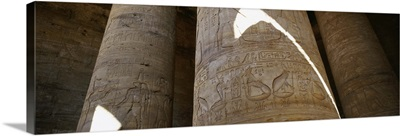 Low angle view of stone columns, Great Hypostyle Hall, Temple of Horus, Edfu, Egypt