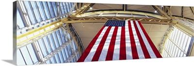 Low angle view of the American Flag, Ronald Reagan Washington National Airport, Washington DC