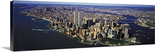 New York City Canvas Wall Art manhattan from air with world trade center towers, new york city