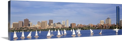 Massachusetts, Boston, Charles River, View of boats on a river by a city
