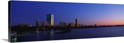Massachusetts, Boston, City at sunset viewed from Longfellow Bridge across Charles River