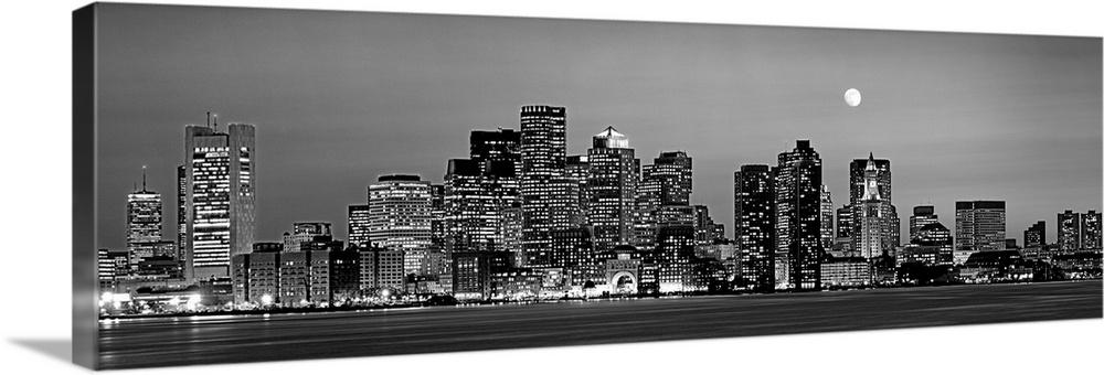 Massachusetts, Boston, Panoramic view of a city skyline at night (Black And White)