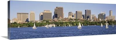 Massachusetts, Boston, Panoramic view of an urban Skyline by the shore