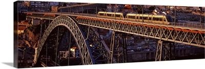 Metro train on a bridge, Dom Luis I Bridge, Duoro River, Porto, Portugal