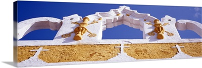 Mexico, Yucatan, Izamal, Yellow City, church detail