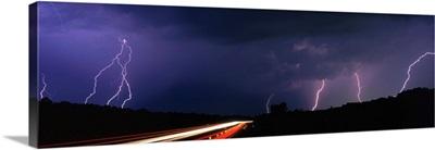 Michigan, lightning, road