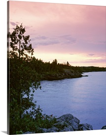 Michigan, Upper Peninsula, Copper Harbor, Lake Superior, High angle view of a harbor in dusk