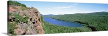 Michigan, Upper Peninsula, Wilderness State Park, High angle view of Lake of Clouds