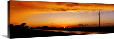 Missouri, Riverton, Route 66, View of clouds over a highway at dusk