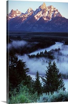 Mist over Snake River, sunrise light, Grand Teton National Park, Wyoming