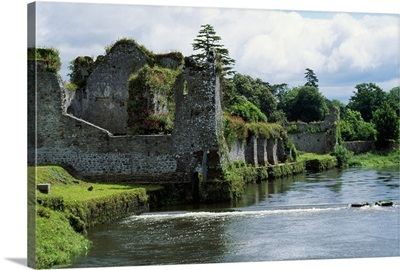 Moat around castle ruins, Ireland.