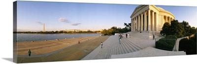 Monument at the riverside, Jefferson Memorial, Potomac River, Washington DC