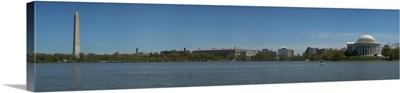Monuments at the waterfront, Washington Monument, Jefferson Memorial, Tidal Basin of the Potomac River, Washington DC