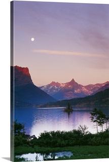 Moon Over Mountains And Saint Marys Lake