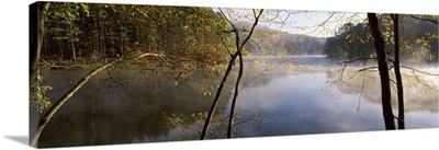 Morning mist around a lake, Lake Vesuvius, Wayne National Forest, Ohio
