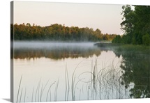 Morning mist over Mink River estuary, water reflection, Wisconsin