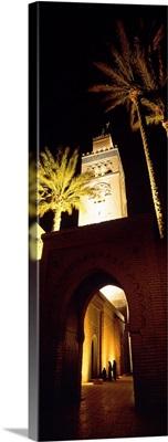 Morocco, Marrakech, Koutoubia Minaret, night