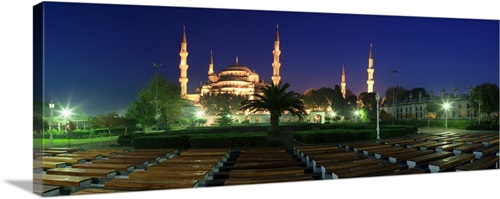 Mosque Lit Up At Night Blue Mosque Istanbul Turkey Wall Art Canvas Prints Framed Prints Wall Peels Great Big Canvas