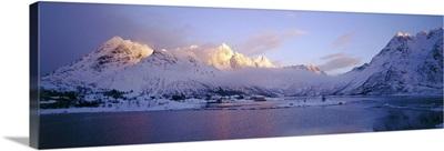 Mountains along a lake, Lofoten, Nordland County, Norway