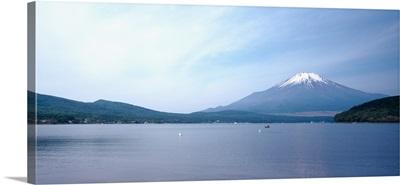 Mountains near a lake, Mt Fuji, Yamanaka Lake, Yamanashi Prefecture, Chubu Region, Japan