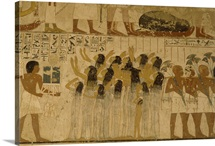 Mural Depicting Female Servants Carrying the Riches of the Deceased in a Funeral Procession, Tomb of Ramose, Thebes, Egypt