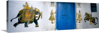Mural on a wall, Rajasthan, India
