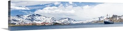 MV Ushuaia tourist ship and the British base King Edward Point, South Georgia Island