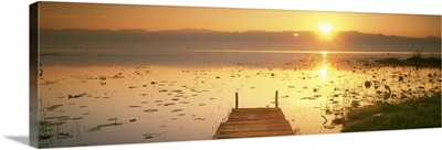 Myanmar, Inle Lake, View of the sunset and pier