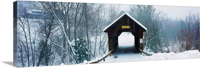 New England covered bridge in winter