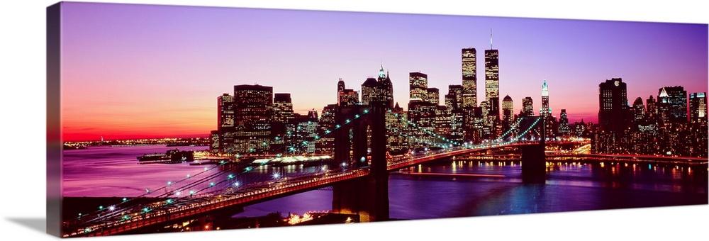 New York City, Brooklyn Bridge, twilight