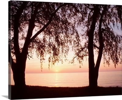 New York, Sodus Bay, Lake Ontario, Sunset over a lake