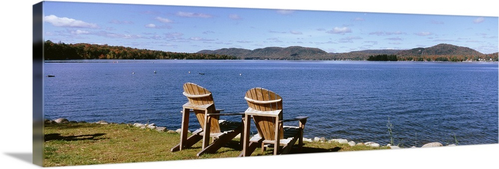 New York State, Adirondack Mountains, Fourth Lake, Chairs on a lawn