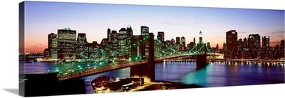 New York State, New York City, High angle view of Brooklyn Bridge